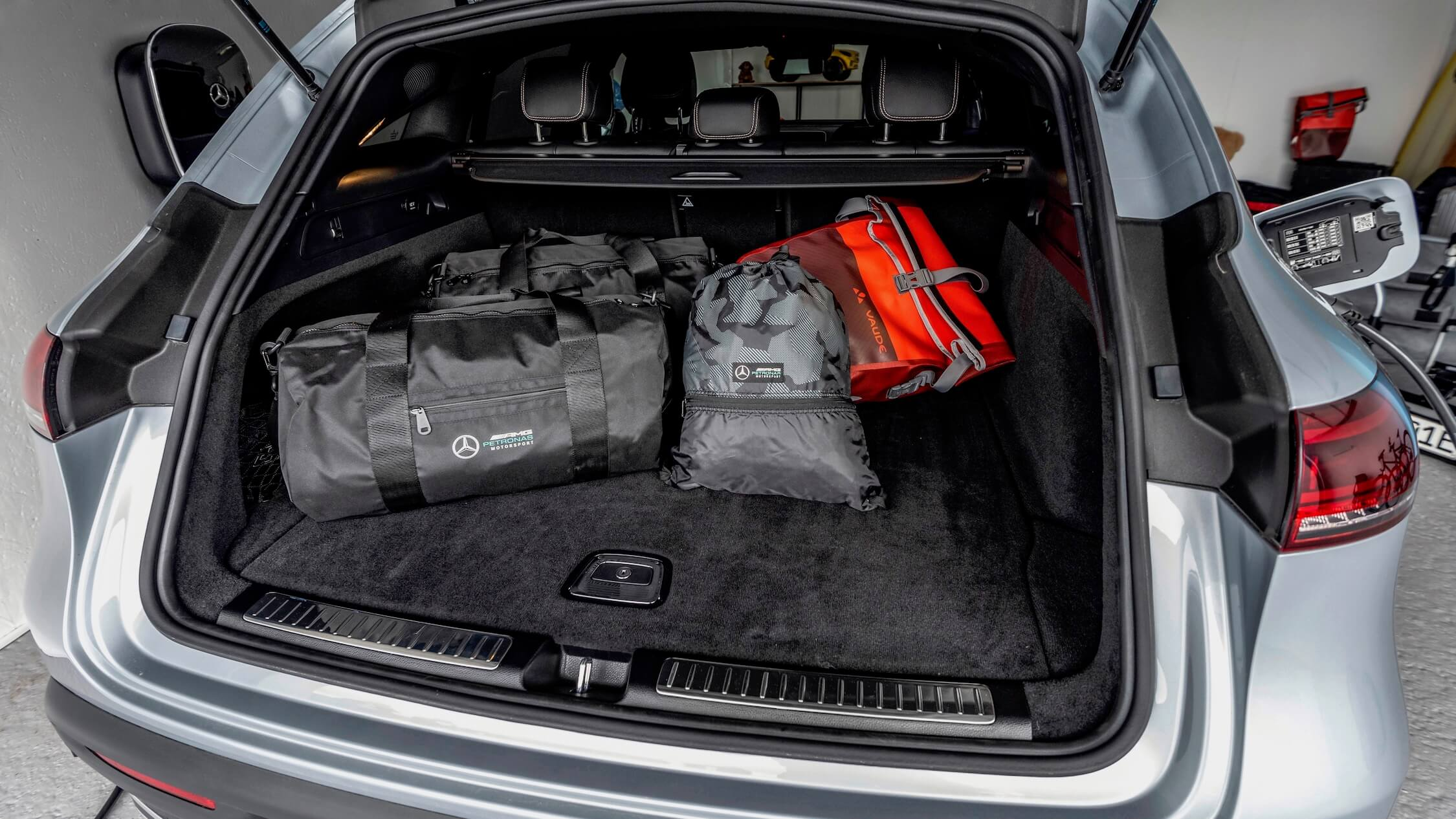 Mercedes EQC trunk with bags